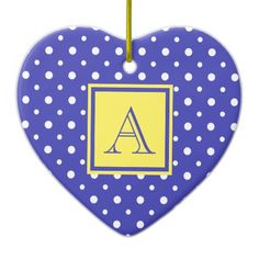 Cute Heart Shaped Ornament, Purple & White Polka Dots with Yellow, add your Initial on the Yellow & Purple Label #Christmas #ornament #heart #monogram #polkadots