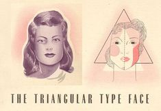 triangle-face-type – Contouring and Highlighting 1940s Makeup, Vintage Makeup, Contour Makeup, Contouring And Highlighting, Face Contouring Tutorial, Makeup Face Charts, Face Sketch, Square Faces, Makeup Guide