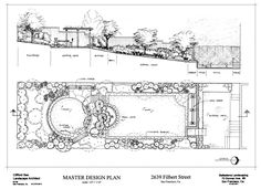 Formal, terrraced garden design with a rectangular and a circular lawn well connected by a curved water feature.