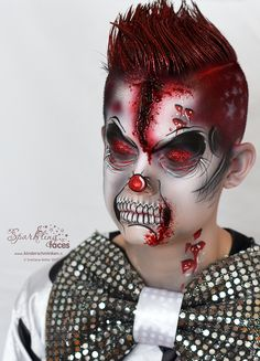 When you think about face painting designs, you probably think about simple kids face painting designs. Many people do not realize that face painting designs go Clown Face Makeup, Boy Halloween Makeup, Halloween Face Paint Scary, Scary Clown Face, Halloween Bebes, Amazing Halloween Makeup, Demon Makeup, Halloween Clipart, Scary Makeup