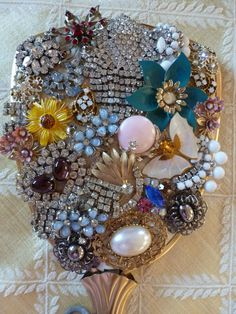 PRINCESS Hand Held Vintage Jeweled Vanity Mirror by bling33, $65.00.  Re-create something similar for Murder Mystery 2013 at Highland City Library.