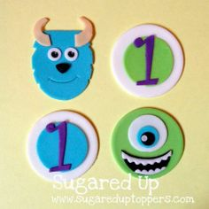 Monster inc cupcke toppers Fondant Cupcakes, Cupcake Cakes, Royal Icing Transfers, Monster Inc Party, Monster Cupcakes, 3rd Birthday, Birthday Ideas, Cake Decorating Tutorials, Monsters Inc