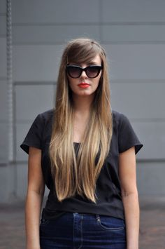 Ellery sunnies + Orange lips + Sweet hair