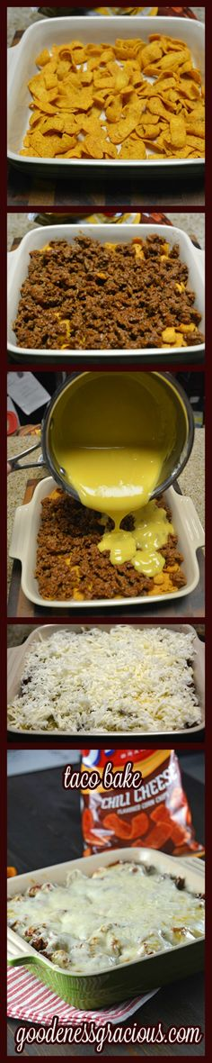Taco Bake Casserole: Ingredients: Serves: 4 Prep Time: 20 minutes Cook Time: 10 minutes 1 lb Ground Beef 1 pkg Taco Seasoning Cup Water Chili Cheese Corn Chips- to taste 1 Can I Love Food, Good Food, Yummy Food, Tasty, Yummy Taco, Delicious Meals, Easy Taco Bake, Baked Tacos Recipe, Taco Recipe