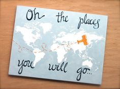 { Oh the places you will go! }    A perfect piece of art to brighten up any room, bedroom, and nursery. A very modern and graphic world painting