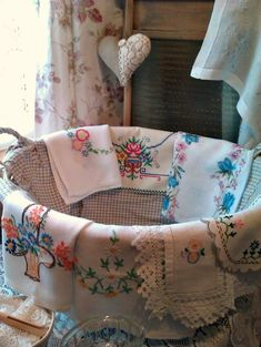 Hand embroidered vintage linen collection* We love our vintage linens, always a large collection in our shop