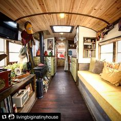 Thanks for the great shot! We can't wait to see more and catch up with you guys later this week at the Tiny House Jamboree . Can't wait to show you the video tour of this Bus Living, Tiny House Living, School Bus House, Converted School Bus, School Bus Conversion, Bus Life, Remodeled Campers, Tiny House Design, House On Wheels