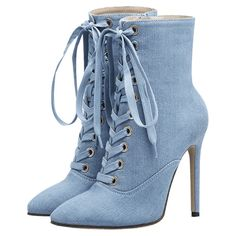 Botas De Mezclilla Con Tacón Alto Y Punta Estrecha Azul Claro 35 (3,115 INR) ❤ liked on Polyvore featuring shoes, denim shoes, pointed toe high heels shoes, pointed toe shoes, tie shoes and pointed toe boots