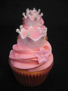 Princess crown cupcakes with pink buttercream and a vanilla pink cupcake sprinkled with pink glitter