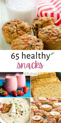 65 Healthy Snacks to get you through the day – this list combines healthy versions of dessert-favorites, high-protein snacks for pre/post workouts, and a selection of sweet and savory options no matter what you're in the mood for! Healthy Family Meals, Healthy Breakfast Recipes, Healthy Snacks, Snack Recipes, Healthy Eating, Chunky Chocolate Chip Cookies, Easy Lunches For Kids, High Protein Snacks, Recipe Inspiration