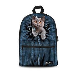 726475f5dec Preppy Style Backpack for Teenagers Girls Animal Cute Cat Printing Children  School Backpack Kids Women Casual Travel Rucksack
