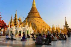 Pilgrims at the Shwedagon Pagoda, Yangon