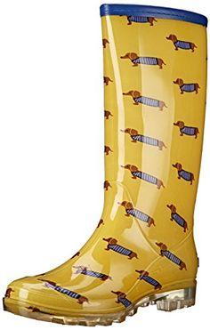 Bootsi Tootsi Women's Dachshund Rain Shoe, Yellow