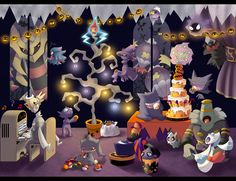 Ghost type Halloween.... Wait why is Darkrai there he's a dark type