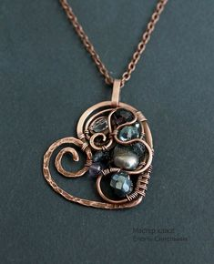 "Copper Pendant ""Heart"" in the art wire wrap - Fair Masters - handmade, handmade"