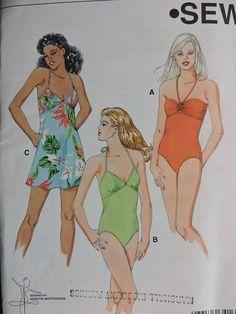 Bathing Suit Swimsuit Dress Overdress Swimming Outfit Kwik Sew 3416 PATTERN Sz. XS - XL Kwik Sew Patterns, Cool Patterns, Swimsuit Pattern, Swimming Outfit, Fashion Patterns, Costume Patterns, Flare Skirt, Bathing Suits, Swimsuits