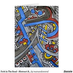Fork In The Road-Notecard with Abstract Art Ink Drawing