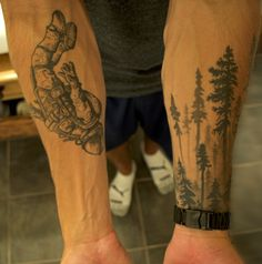 """forearm Astronaut and tree line tattoo's"" #tattoo #sleeve #astronaut #redwood…"