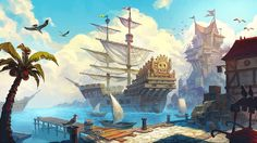 Fantasy Places, Fantasy World, Fantasy Concept Art, Fantasy Art, Sea Of Thieves, Pirate Art, Fantasy Setting, Character Design Animation, Environment Design