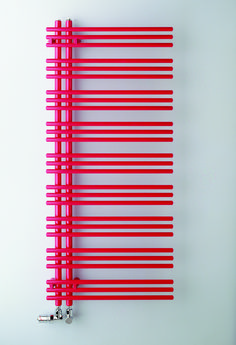 Yucca towel radiator in red - open side allows towels to be slid on easily. Flat Panel Radiators, Column Radiators, Bathroom Heater, Bathroom Radiators, Traditional Towel Radiator, Stainless Steel Towel Rail, Mirror Radiator, Towel Heater, Red Towels