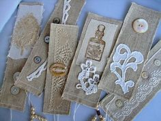 linen  lace bookmarks