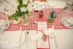 gingham wedding reception