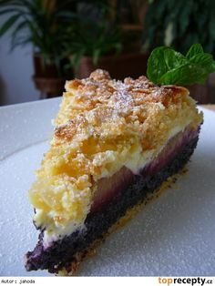 Krehký koláč s makom, tvarohom a slivkami Czech Recipes, Sweet Recipes, French Toast, Cheesecake, Good Food, Goodies, Dessert Recipes, Food And Drink, Cooking Recipes