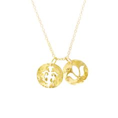 The Disc Necklace in 22KT Yellow Gold with 2 Disc Design. Available online at www.murkani.com.au