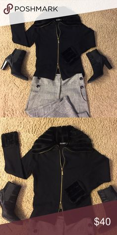 Designer Black Zip Cardigan Bought at local boutique. Faux fur trim on collar and wrists. Double zip front. Great with cami or tank underneath. cabo Sweaters Cardigans