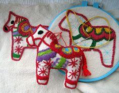 Embroidered Dala Horses