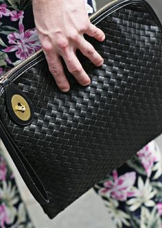 Leather Woven Men's Clutch Bag