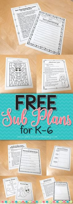 These FREE sub plans are an easy way to get started with planning for a substitute teacher! They are perfect for Kindergarten, 1st grade, 2nd Grade, 3rd Grade, 4th Grade, 5th Grade, and 6th Grade teachers! Free Sub Plans from Wife Teacher Mommy