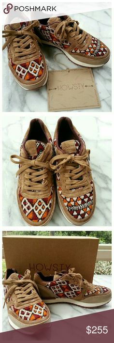 """Howsty Naaz Leather Sneakers Unique woven tapestry sneakers with leather and suede trim. Burgundy/gold/black/cream fabric upper, white and burgundy sole, tan laces. Heel height 1"""", length 10"""", width 3.5"""". Euro size 36, sold by Nasty Gal as size 5.5 but would fit a 6. New in box.  Made in Spain. Nasty Gal Shoes Sneakers"""