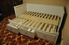 ikea day bed frame IKEA HEMNES DaybedSofaTrundle Single to Double 3 drawers Excellent Diy Sofa, Diy Bed, Sofa Bed, Recycled Furniture, Diy Furniture, Hemnes Day Bed, Day Bed Frame, Horizontal Murphy Bed, Daybed With Trundle