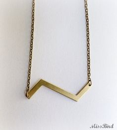 Zig Zag Raw Brass Metal Charm Geometric Necklace by MissBird, $20.00