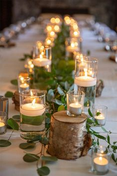 Rustic Décor Theme - Sea to Sky Celebrations Dinner Party Decorations, Dinner Themes, Wedding Decorations, Lighted Centerpieces, Candle Wedding Centerpieces, Wedding Reception Lighting, Wedding Table, Rustic Dinner Tables, Rustic Italian Wedding