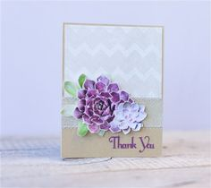 Succulent thank you card made with images from the Cricut® Botanical Prints digital cartridge. Make It Now with the Cricut Explore machine in Cricut Design Space.
