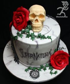 Made for a Birthday for a girl who loved the Supernatural TV Program, the skull is solid White Chocolate,the roses are gumpaste as is the vines. The Cake is Red Velvet with Vanilla White Chocolate Ganache & Finished in a Marble gravestone. Bolo Supernatural, Supernatural Birthday Cake, Beautiful Cakes, Amazing Cakes, Edible Cake, Halloween Cakes, Halloween Party, Love Cake, Cute Cakes