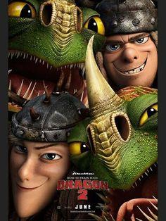 Poster de los personajes Brutasio y Brutilda  junto a sus dragones Como entrenar a tu dragon 2
