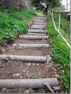diy outdoor projects The stairs are very important stylish detail for every yard. Outdoor stairs can be made of different materials: stone, concrete, wood . When you edit a Rustic Landscaping, Hillside Landscaping, Landscaping Ideas, Inexpensive Landscaping, Natural Landscaping, Hillside Garden, Garden Stairs, Garden Bridge, Outdoor Steps