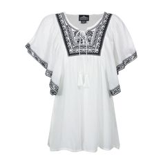 Angie Women's Embroidered Short Sleeve Blouse