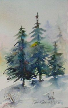 images watercolor evergreens - Google Search