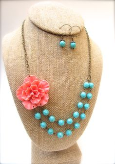 Flower Statement Necklace Coral and Turquoise Double Strand Necklace Chunky Necklace Bridesmaid Jewelry on Etsy, $44.00