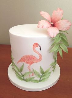 Flamingo hand drawn cake with leaves and flower. Flamingo Party, Flamingo Cake, Flamingo Birthday, Flamingo Flower, Pretty Cakes, Cute Cakes, Beautiful Cakes, Rodjendanske Torte, Festa Party