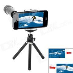 10X de zoom óptico lente de la cámara del telescopio w / trípode para iPhone 5 - Negro + Blanco SKU: 961167696 (Añadido el 30/11/2012) Precio: 23,96