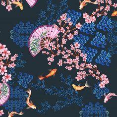 suelenssfreitas -  Direto do Oriente 🗻🏮🎎 Detalhes da minha estampa.  Obs: eu adoro os peixinhos 😍 rs  #aspasdesign #estampa #estamparia #designdesuperficie #designtextil #design #surface #surfacepattern #surfacespatterns #surfacedesign #print #printdesign #pattern #patterndesign #estampas #exclusive #aquarela #watercolor #illustration #textil #textiledesign #textile #art #fashion #moda #tendencia #trend #surfacespatterns