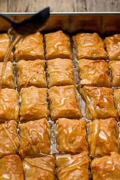 This Turkish-style baklava tastes deeply and richly of pistachio nuts and butter, without the spices, honey or aromatics found in other versions. It has a purity of flavor that, while still quite sweet, is never cloying. (Photo: Andrew Scrivani for The Ne Pistachio Baklava Recipe, Lebanese Baklava Recipe, Best Baklava Recipe, Pistachio Cheesecake, Pistachio Butter, Pistachio Recipes, Turkish Recipes, Ethnic Recipes, Gastronomia