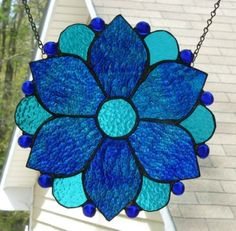 Floral-Aqua-Blues-Stained-Glass-Suncatcher-Panel-Made-in-USA-by-Me