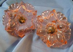 Depression glass floral pink drapery tie backs (2) from robertbrowning on Ruby Lane
