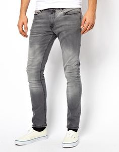 River Island Skinny Fit Jeans in Grey